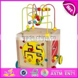 Educational multi-function 5 in 1 wooden toy baby activity cube W11B136-S