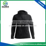 Hot selling Black color Cotton with Spandex women sport hoody with full zipper