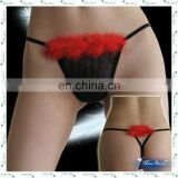 red fur black mesh ladies' sexy g-string