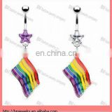 Belly ring with dangling gay pride rainbow flag body piercing jewelry ring in stainless steel