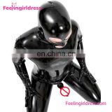 Long Sleeve Sexy Ladies sedutive Black PVC leather catsuit