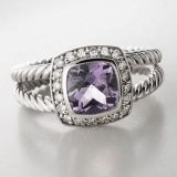 925 silver jewelry 7mm Lavender Amethyst Petite Albion Ring(R-005 )