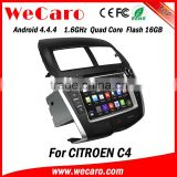 Wecaro Android 4.4.4 multimedia system 1024 * 600 2 din car dvd for citroen c4 radio gps 16GB Flash