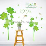 ALFOREVER top quality wall sticker removal pvc lucky clover wall decals                                                                                                         Supplier's Choice