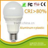 Aluminum plastic housing led bulbs CRI80 80lm/w e27 3W led lighting with ce rohs standards