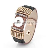 2015 cheap PU Leather Charm Bracelet DIY Snap Jewelry 18mm Ginger Snap Button Bracelet pulseras Snap Bracelets