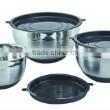 6PCS Stainless Steel mixing bowl/salad bowl Sets With nonslip silicon wrapped bottom (XM-7027FS)