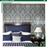 hot sale printing non woven wallpaper, vivid blue gorgeous damask wall paper for closet room , chromatic wall covering roll