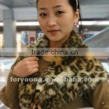leopard print mink fur shawl fur hooded scarf