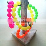 Silicone personalized candy colored bead bracelet,customized color fashion multi colors candy ball silicone rubber bracelet
