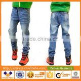 Hot Sale Custom Cheap Children's Jeans Pants Monkey Washed Elastic Waist Denim For Boy