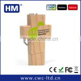Wood cross USB memory stick 2GB4GB8GB16GB with keychain wooden USB stick Custom Solution print/laser engraving LOGO