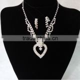 Hot fashion crystal heart shape pendant for party jewelry artificial bride necklace set GJ-085