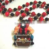 Hand Strung Beads Poly Medallion Mardo Gras Beads Plastic Necklace