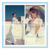 New Fashion Halter Neckline Off-Shoulder Mermaid Gown Latest Bridal Wedding Gowns Pictures (WDJV-1005)