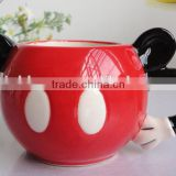 creative lovely cartoon mickey mouse style 130ml ceramic cheese mousses ice cream mug with handle and black ear