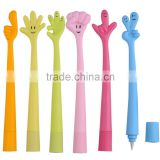 Rubber Soft PVC Novelty cheap Pen silicone hand shape ball point pen with LOGO