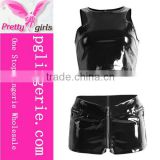 Hot Leather Set sexy tight Brilliant black pvc leather corset Short Style Tops and Pants