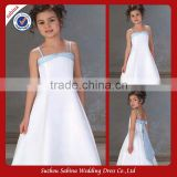 Fl05 Double Shoulder Satin Bateau Neckline Ankle-Length Flower Girl Dress