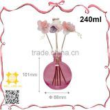 Welllord customized pink clear glass aromatic reed stick diffuser