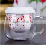 Creative product heat resistant borosilicate glass tea cup with ceramic filters and lid for promotion