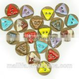 Fancy 2 Holes Colorful Red, Blue, Yellow, Coffee Triangle Oil Enameling Coconut Shell Button