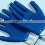10 gauge cotton liner with blue crinkle latex palm on the coating / Latex / working / safety gloves