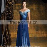 blue chiffon off-shoulder full length beautiful champagne mother of the bride dresses