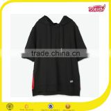 2016 wholesale OEM high quality black short sleeve fleece french terry sports hoodie for men