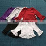LY-166 custom baby long sleeve ruffle top persnickety children blank t shirt toddler clothing 2016