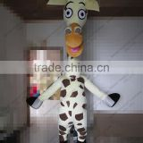 SM428 life size walking soft plush giraffe mascot with clear visual long neck cartoon Melman giraffe mascot