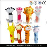 Custom plush funny animal baby hand rattle stuffed toy