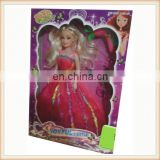 "11"" plastic big dress girl doll with violin and dryer"