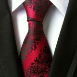 Classic Strips Pink Polyester Woven Necktie Self-tipping Solid Colors