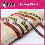 high quality 1.3cm embroidered ribbon trims in embroidery flora pattern polyester woven jacquard elastic ribbon