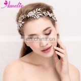 Wedding Hair Jewelry Crystal Bridal Headbands With Flower Leaf hair vine Opal Regal Woman Headpiece Party Prom Hair Accessories