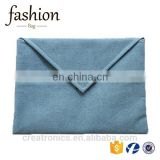 CR Sample available envelope shape canvas material light blue color latest design hot sales fancy cheap indian designer purses