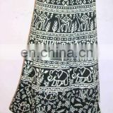 bohemian long wrap skirt beautiful print animal print wholesale cotton skirt hippi skirt wrapround skirt