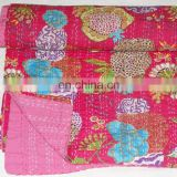 Quality Vintage Pink Floral Kantha quilt blanket Indian Reversible Quilts Pure Cotton