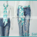 Polyester satin floral printed waist belt for fashion trend