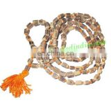 Real tulsi sacred-auspicious wood beads mala-string of 108 beads, size: 5x7mm