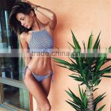 2016 summer new Small Plaid Halter High Neck bikini set crop top sey Thong Triangle bottom bandage women Swimwears SwimSuit