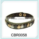 Personalized narrow round punk style snap-fastner bracelet new fashion leather rivet bracelet,mens leather bracelet