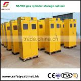 Heavy duty, all welded lockable vertical storage cabinet for safely storing compressed air gas cylinders and tanks