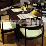 Shangdian furniture factory 4 seater solid wood base glass top dining table design