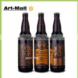 CE Certified Glass Supplier black glass beer bottles,glass bottle with wood cork