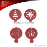 Hot selling 4pc different pattern christmas series metal coffee stencil set