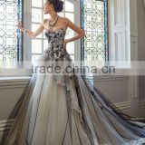 Custom Made Luxury Long Train Applique Black and Ivory Princess Wedding Dress Bridal Gown