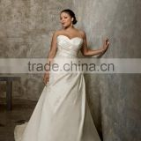 New Custom Made Ivory/White Satin Taffeta Pleat Embroidery Beading A-Line Plus Size Wedding Dress