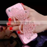 3D Bling Glitter Luminous Diamond Rhinestone Butterfly Kickstand Phone Case For Iphone and for Samsung